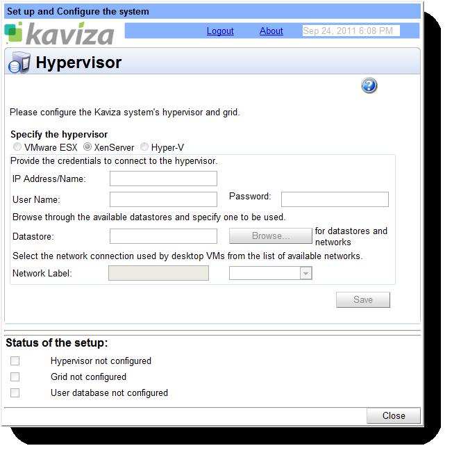 Kaviza Hypervisor configuration