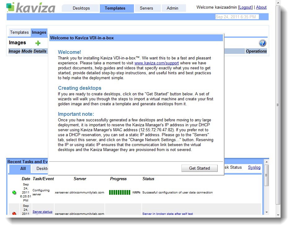 Kaviza dashboard