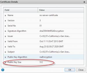Netscaler default certificate