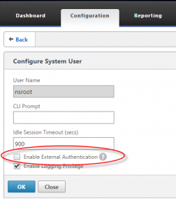 Disable external authentication for nsroot